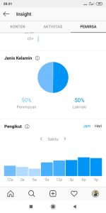 Data insight waktu posting akun Instagram